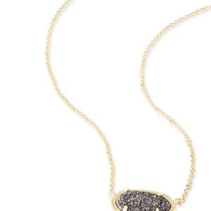Elisa Gold Necklace in Platinum Drusy